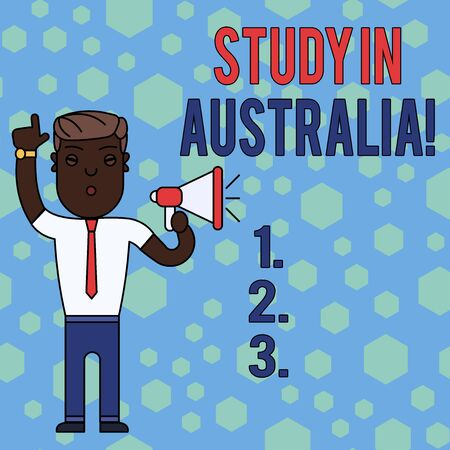 Word writing text Study In Australia. Business photo showcasing going into foreign country order complete your studies Man Standing with Raised Right Index Finger and Speaking into Megaphone 写真素材