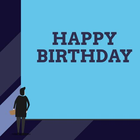 Handwriting text Happy Birthday. Conceptual photo The birth anniversary of a demonstrating is celebrated with presents Back view young woman watching blank big rectangle. Geometrical background Imagens
