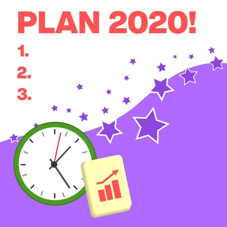 Text sign showing Plan 2020. Business photo text detailed proposal for doing or achieving something next year Layout Wall Clock Notepad with Escalating Bar Graph and Arrow Pointing Up Stockfoto