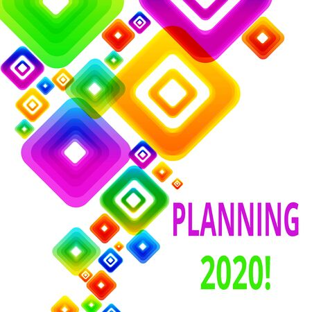 Writing note showing Planning 2020. Business concept for process of making plans for something next year Vibrant Multicolored Rhombuses Diamonds of Different Sizes Overlapping