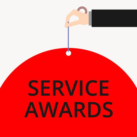 Word writing text Service Awards. Business photo showcasing Recognizing an employee for his or her longevity or tenure Male hand arm needle punching big half blank balloon geometrical background Imagens