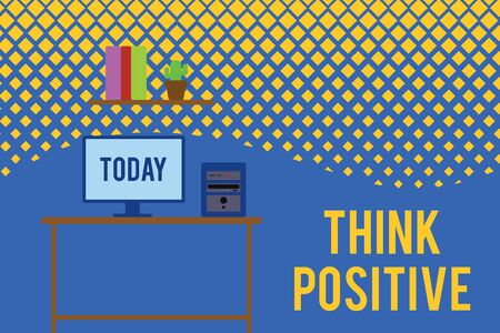 Text sign showing Think Positive. Business photo text The tendency to be positive or optimistic in attitude Desktop computer wooden table background shelf books flower pot ornaments