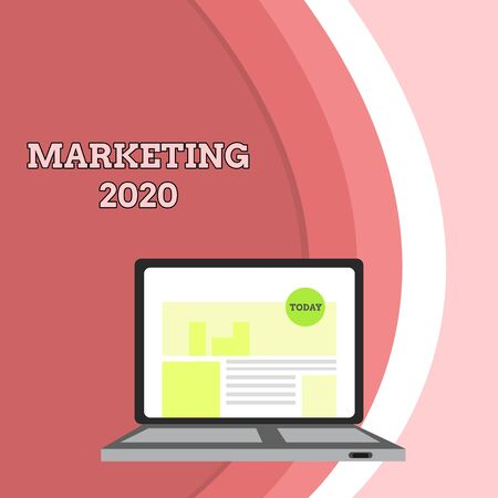 Conceptual hand writing showing Marketing 2020. Concept meaning Commercial trends for 2020 New Year promotional event Laptop Switched On with Website Homepage Screen Web Search