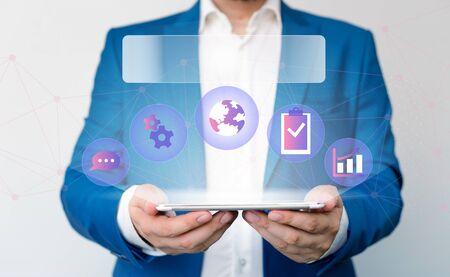 Male human wear formal work suit presenting presentation using smart device