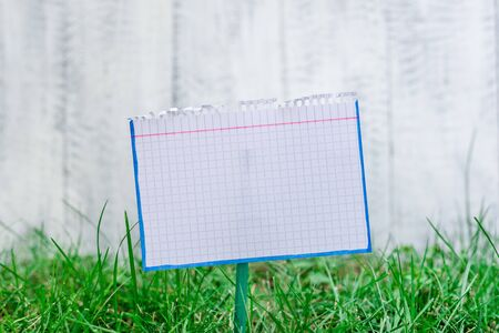 Mathematic paper attached to a stick and placed in the green grassy land