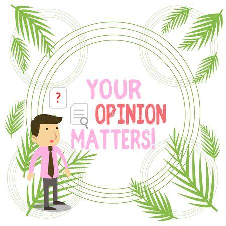 Escribir nota que muestra su opinión importa. Concepto de negocio para mostrar que no está de acuerdo con algo que se acaba de decir Joven empresario trabajador buscando solución al problema