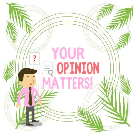 Writing note showing Your Opinion Matters. Business concept for show you do not agree with something that just been said Young Male Businessman Worker Searching Problem Solution
