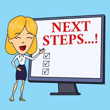 Writing note showing Next Steps. Business concept for something you do after you have finished doing first one White Female in Standing Pointing Blank Screen Whiteboard Presentation