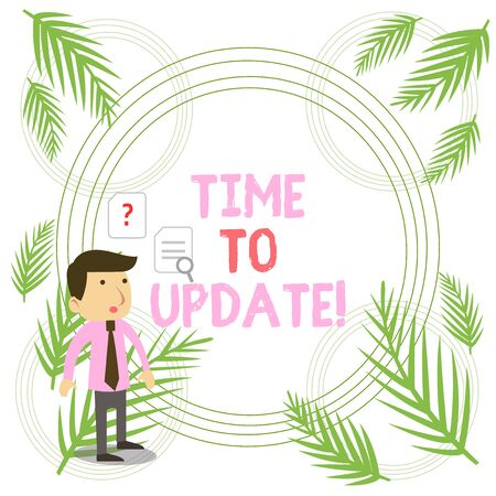 Writing note showing Time To Update. Business concept for this is right moment to make something more modern new Young Male Businessman Worker Searching Problem Solution