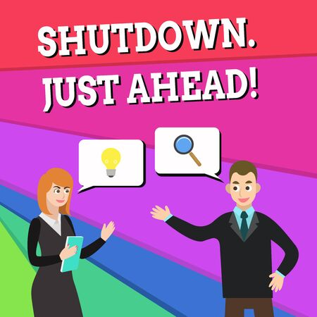 Text sign showing Shutdown Just Ahead. Business photo showcasing closing factory business either short time or forever Business Partners Colleagues Jointly Seeking Problem Solution Generate Idea