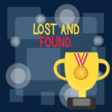 Writing note showing Lost And Found. Business concept for a place where lost items are stored until they reclaimed Trophy Cup on Pedestal with Plaque Medal with Striped Ribbon Imagens