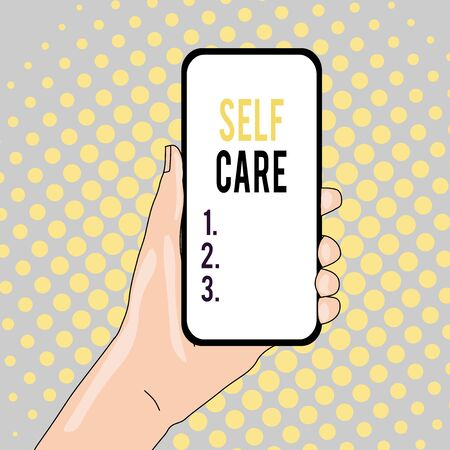 Conceptual hand writing showing Self Care. Concept meaning the practice of taking action to improve one s is own health Closeup of Smartphone Device Held in Hand and Text Space Stock fotó