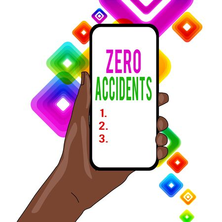 Writing note showing Zero Accidents. Business concept for important strategy for preventing workplace accidents Closeup of Smartphone Device Held in Hand and Text Space 版權商用圖片