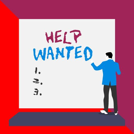 Word writing text Help Wanted. Business photo showcasing An ad in the paper an employer places to find a new employee Back view young man dressed suit standing platform facing blank rectangle