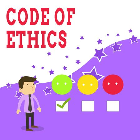 Text sign showing Code Of Ethics. Business photo text basic guide for professional conduct and imposes duties White Male Questionnaire Survey Choice Checklist Satisfaction Green Tick Standard-Bild