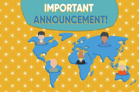 Writing note showing Important Announcement. Business concept for spoken statement that tells showing about something Connection multiethnic persons all Global business earth map Stockfoto