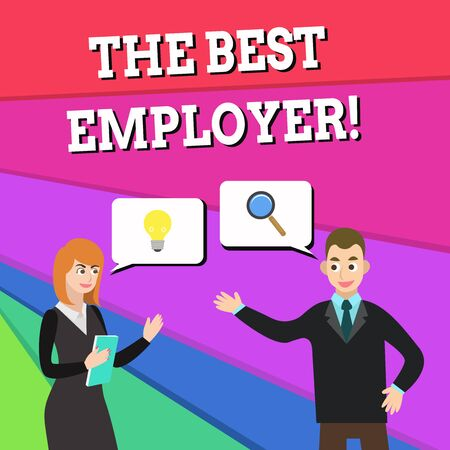 Text sign showing The Best Employer. Business photo showcasing created workplace showing feel heard and empowered Business Partners Colleagues Jointly Seeking Problem Solution Generate Idea