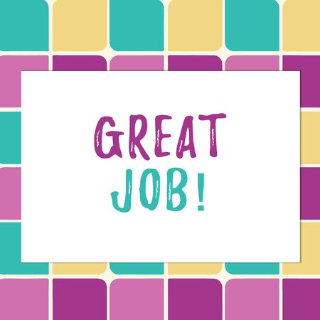 Writing note showing Great Job. Business concept for sed for telling someone that they have done something well Pastel Color Teardrops Shape with Border Flat Style Geometric Shape
