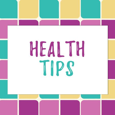 Writing note showing Health Tips. Business concept for advice or information given to be helpful in being healthy Pastel Color Teardrops Shape with Border Flat Style Geometric Shape