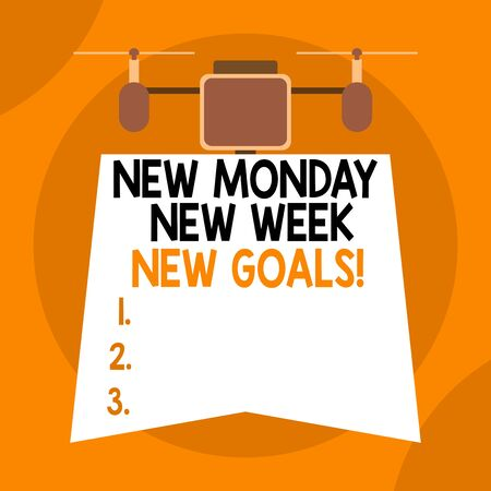 Writing note showing New Monday New Week New Goals. Business concept for goodbye weekend starting fresh goals targets Drone holding downwards banner. Geometrical abstract background design Imagens