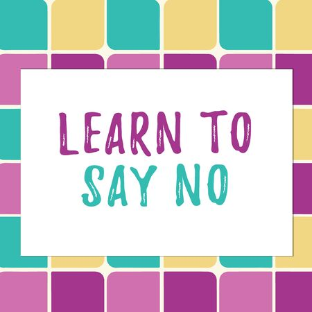 Writing note showing Learn To Say No. Business concept for decline or refuse few things before you destroy yourself Pastel Color Teardrops Shape with Border Flat Style Geometric Shape Stock Photo