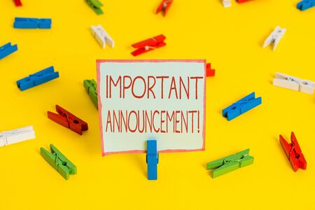 Conceptual handwriting showing Important Announcement. Concept meaning spoken statement that tells showing about something Colored clothespin papers empty reminder yellow floor office Stockfoto