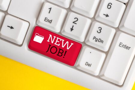 Conceptual hand writing showing New Job. Concept meaning recently having paid position of regular employment White pc keyboard with note paper above the white background
