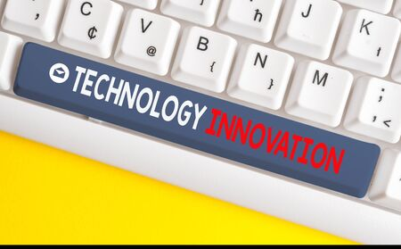 Word writing text Technology Innovation. Business photo showcasing significant technological changes of products White pc keyboard with empty note paper above white background key copy space Foto de archivo