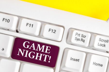 Handwriting text writing Game Night. Conceptual photo usually its called on adult play dates like poker with friends White pc keyboard with empty note paper above white background key copy space 写真素材 - 128691747