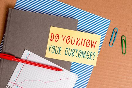 Handwriting text Do You Know Your Customer Question. Conceptual photo service identify clients with relevant information Striped paperboard notebook cardboard office study supplies chart paper