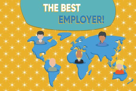 Writing note showing The Best Employer. Business concept for created workplace showing feel heard and empowered Connection multiethnic persons all Global business earth map Imagens