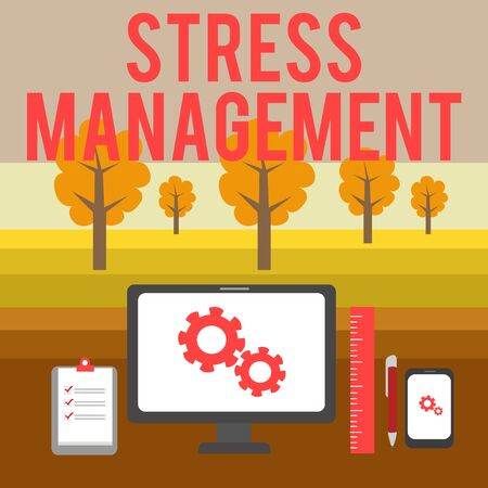 Conceptual hand writing showing Stress Management. Concept meaning method of limiting stress and its effects by learning ways Business Concept PC Monitor Mobile Device Clipboard Ruler