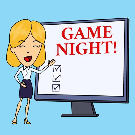 Writing note showing Game Night. Business concept for usually its called on adult play dates like poker with friends White Female in Standing Pointing Blank Screen Whiteboard Presentation