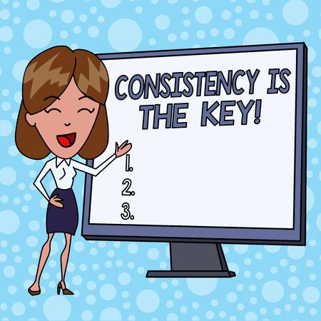 Writing note showing Consistency Is The Key. Business concept for by Breaking Bad Habits and Forming Good Ones White Female in Standing Pointing Blank Screen Whiteboard Presentation