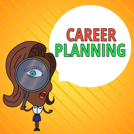 Text sign showing Career Planning. Business photo text Strategically plan your career goals and work success Woman Looking Trough Magnifying Glass Big Eye Blank Round Speech Bubble Фото со стока
