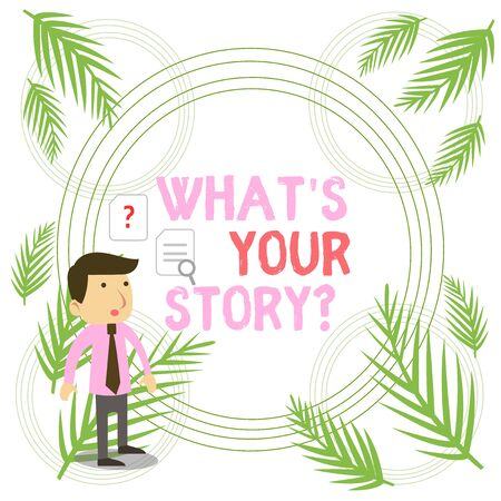 Writing note showing Whats Your Story Question. Business concept for asking demonstrating about his past life actions career or events Young Male Businessman Worker Searching Problem Solution Imagens
