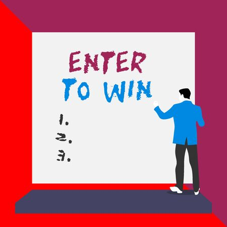 Word writing text Enter To Win. Business photo showcasing exchanging something value for prize or chance of winning Back view young man dressed suit standing platform facing blank rectangle Фото со стока