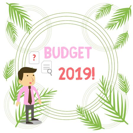 Writing note showing Budget 2019. Business concept for estimate of income and expenditure for current year Young Male Businessman Worker Searching Problem Solution