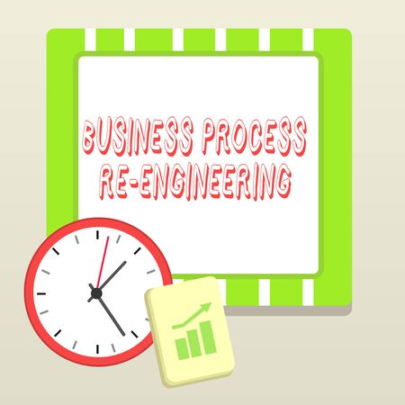Handwriting text writing Business Process Re Engineering. Conceptual photo the analysis and design of workflows Layout Wall Clock Notepad with Escalating Bar Graph and Arrow Pointing Up