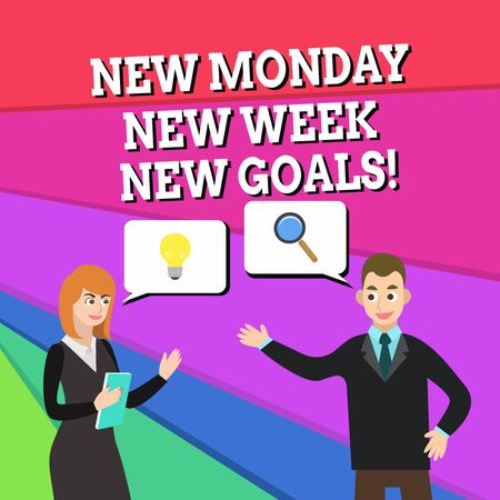 Text sign showing New Monday New Week New Goals. Business photo showcasing goodbye weekend starting fresh goals targets Business Partners Colleagues Jointly Seeking Problem Solution Generate Idea