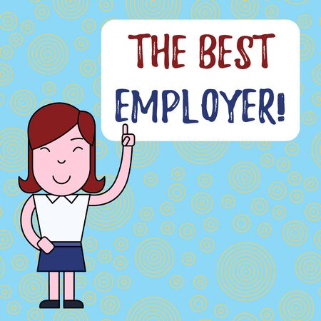 Text sign showing The Best Employer. Business photo text created workplace showing feel heard and empowered Woman Standing with Raised Left Index Finger Pointing at Blank Text Box Imagens