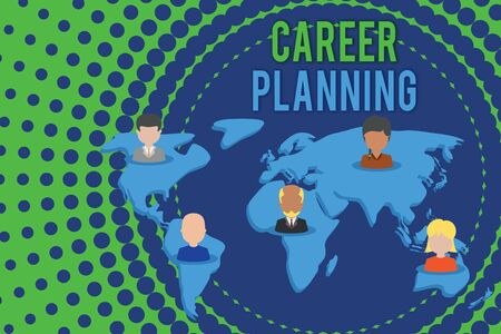 Word writing text Career Planning. Business photo showcasing Strategically plan your career goals and work success Connection multiethnic persons all over world. Global business earth map 写真素材