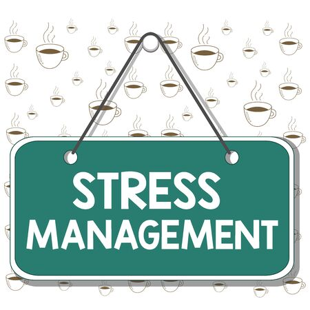 Writing note showing Stress Management. Business concept for method of limiting stress and its effects by learning ways Memo reminder empty board attached background rectangle