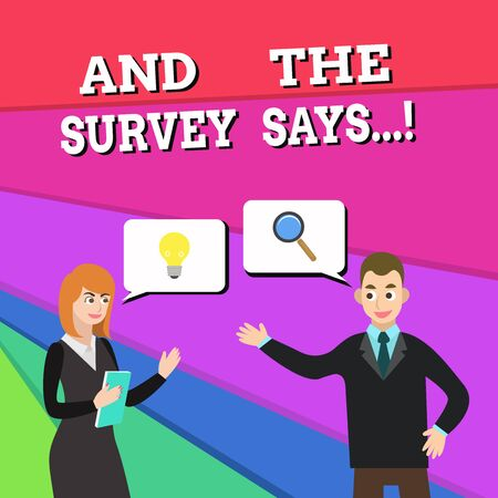 Text sign showing And The Survey Says. Business photo showcasing written spoken results of short quiz or exam on internet Business Partners Colleagues Jointly Seeking Problem Solution Generate Idea Stockfoto