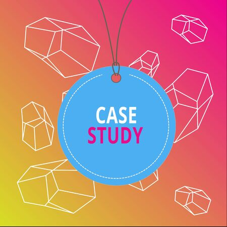 Word writing text Case Study. Business photo showcasing analysis and a specific research design for examining a problem Badge circle label string rounded empty tag colorful background small shape
