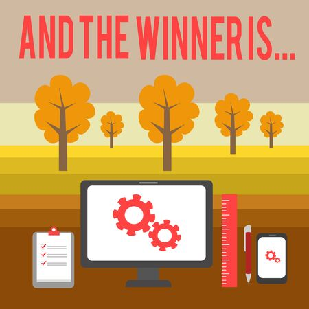Conceptual hand writing showing And The Winner Is. Concept meaning announcing a demonstrating or thing that wins something Business Concept PC Monitor Mobile Device Clipboard Ruler Stockfoto