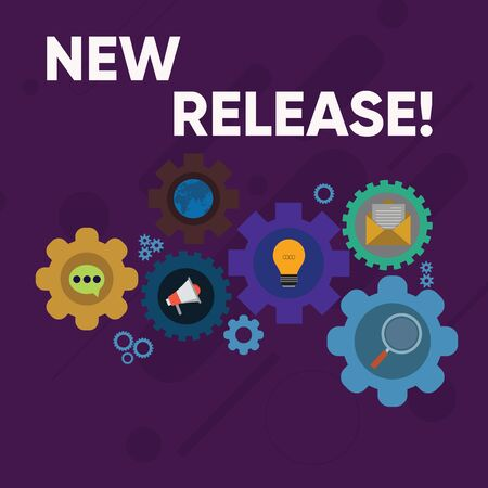 Handwriting text writing New Release. Conceptual photo announcing something newsworthy recent product Set of Global Online Social Networking Icons Inside Colorful Cog Wheel Gear