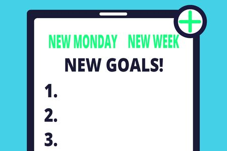 Handwriting text writing New Monday New Week New Goals. Conceptual photo goodbye weekend starting fresh goals targets Blank Clipboard Touch Screen Tablet Mobile Device Check Circle Green Tick