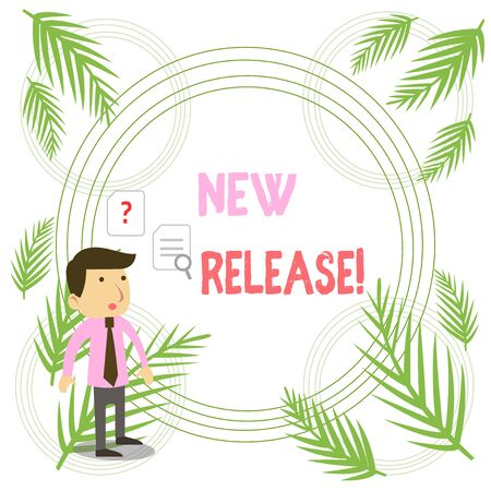 Writing note showing New Release. Business concept for announcing something newsworthy recent product Young Male Businessman Worker Searching Problem Solution