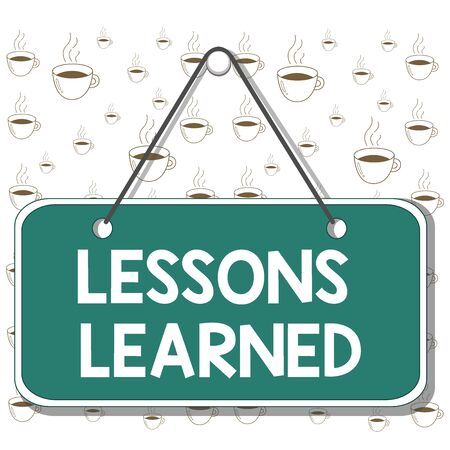 Writing note showing Lessons Learned. Business concept for the knowledge or understanding gained by experience Memo reminder empty board attached background rectangle
